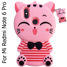 Cute Cartoon Lucky Cat Pink Stripe Kitten Case Soft Bumper Shock Proof Back Cover for Mi Redmi Note 6 Pro - Pink Color